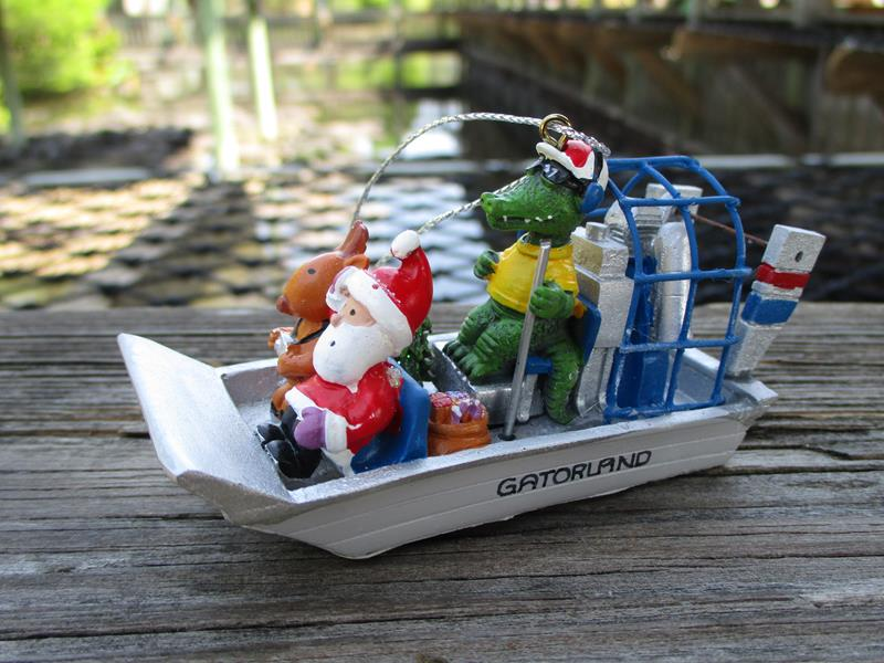Ornament Airboat Santa,855-54