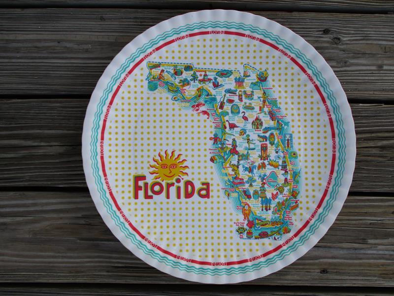 "Florida Retro16"" Melamine Platter,ME0437"
