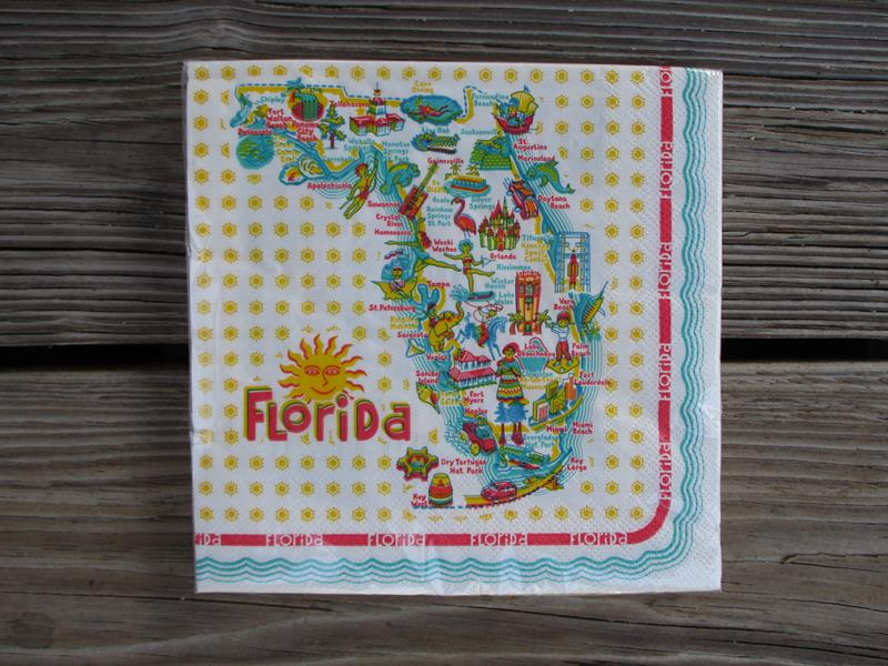 Florida RETRO Napkins 20 PC,YR0020
