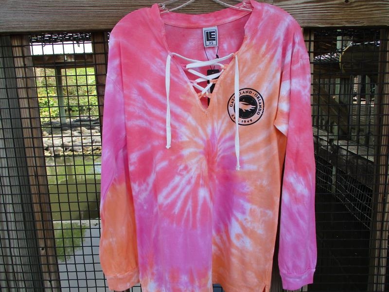 Tie Dye Laceup Jersey Crew,7024-PINK SWIRL